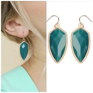Turquoise teal statement earrings NWT